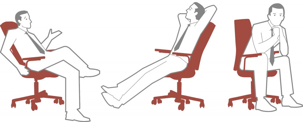 Kuvituskuva säädettävän työtuolin työasennoista